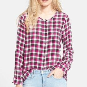 Joie Kariana Plaid silk blouse top shirt pink smal